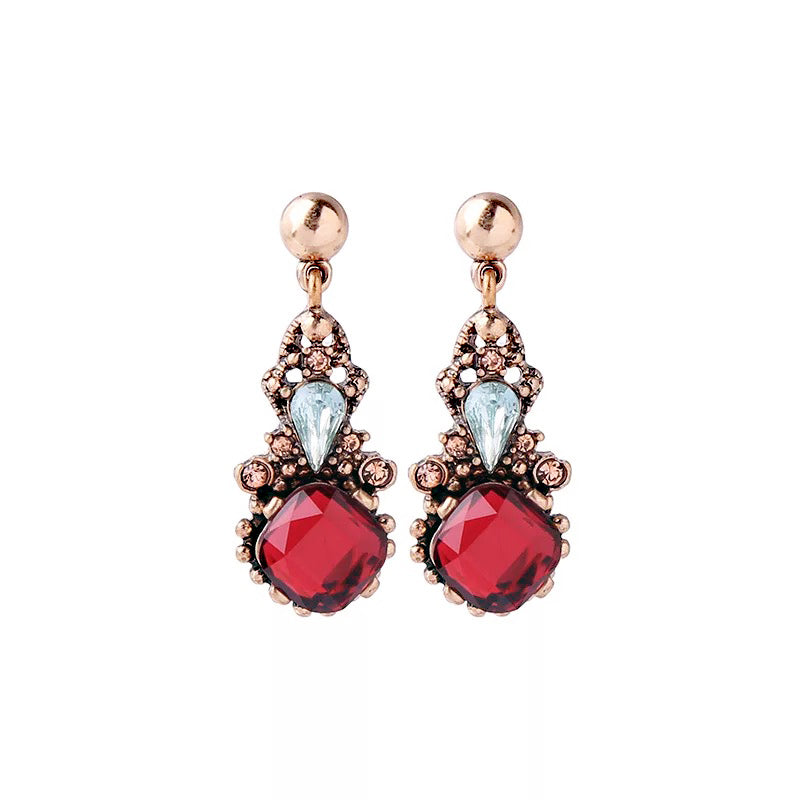 DT090E - Crystal Earring - Red
