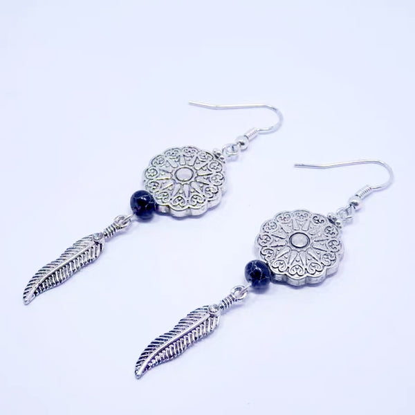 DT095E - Unique Ethnic Retro Wire Hook Earring - Silver