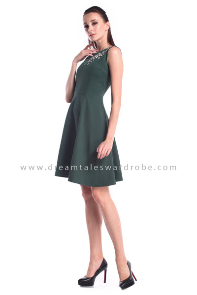 DT1000 Sleeveless Crystal Details Dress - Green