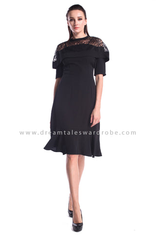 DT1001 Lace Cape Details Midi Dress - Black