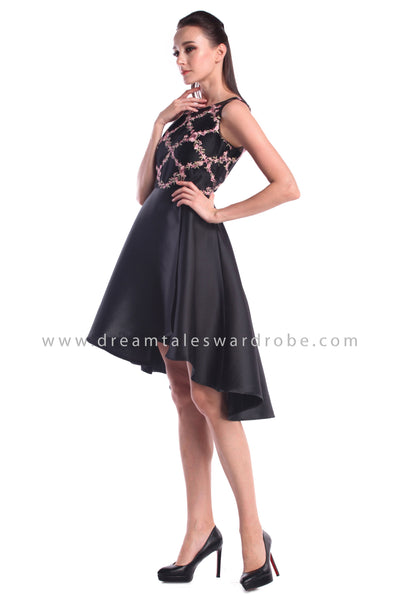 DT1002 Mesh Embroidered Asymmetrical Prom Dress - Black