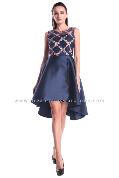 DT1002 Mesh Embroidered Asymmetrical Prom Dress - Blue