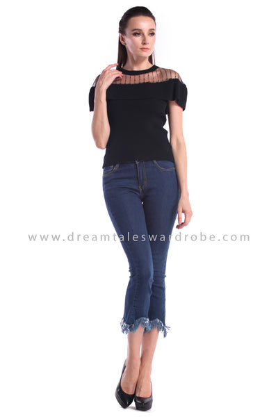 DT1004 Ruffles Details Knitted Top - Black