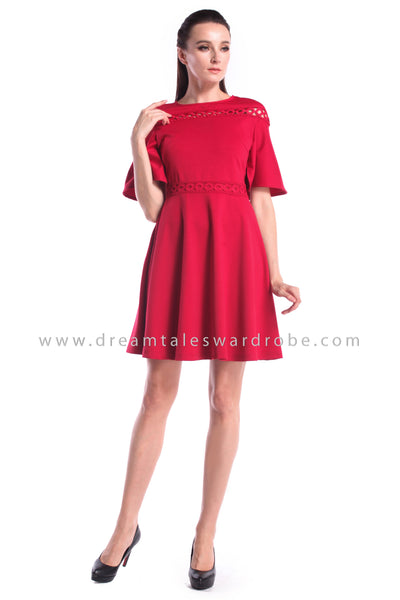 DT1007 Cape Details Fit & Flare Dress - Red