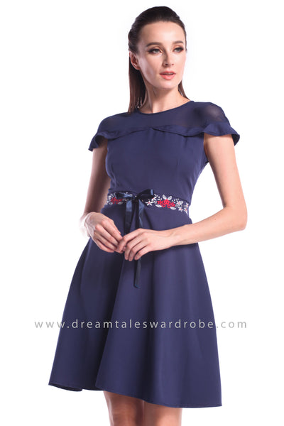 DT1008 Embroidered Ruffles Details Fit & Flare Dress - Blue