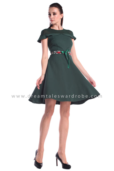 DT1008 Embroidered Ruffles Details Fit & Flare Dress - Green