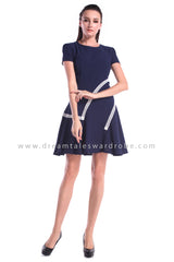 DT1010 Contrast Lace Trim Fit & Flare Dress - Blue