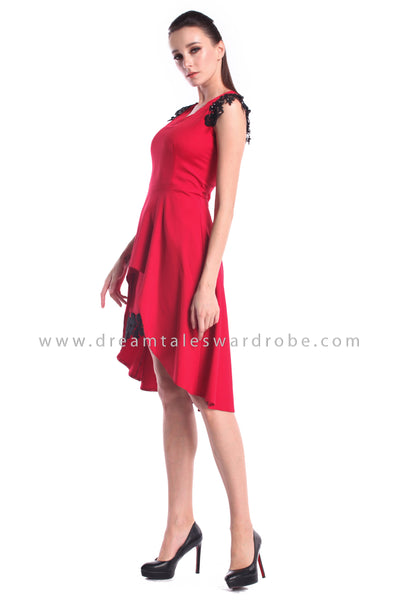 DT1011 V Neck Asymmetrical Layering Hem Dress - Red
