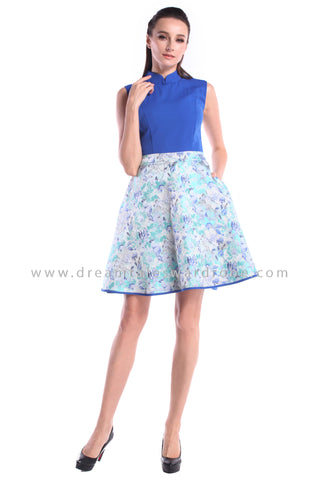 DT1012 Duo Blend Floral Cheongsam Dress  - Blue