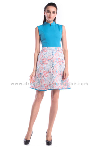 DT1012 Duo Blend Floral Cheongsam Dress  - Cyan