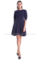 DT1013 Plain Quarter Sleeves Fit & Flare Dress  - Blue