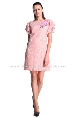 DT1014 Floral Applique Lace Shift Dress - Pink (DreamTales Exclusive)
