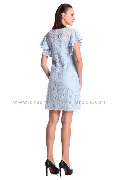 DT1014 Floral Applique Lace Shift Dress - Powder Blue (DreamTales Exclusive)