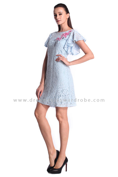 DT1014 Embroidered Lace Flutter Sleeve Shift Dress - Powder Blue (DreamTales Exclusive)