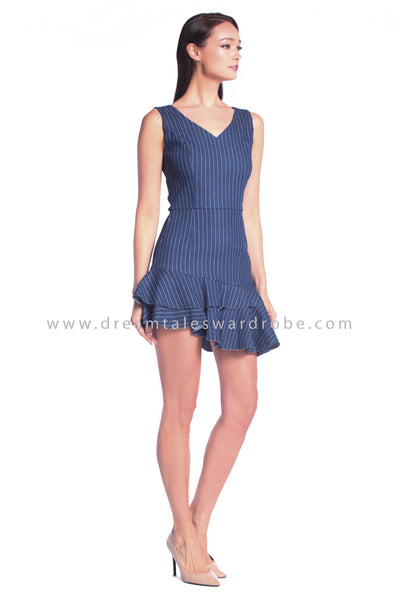 DT1016 Asymmetrical Ruffles Hem Stripes Dress - Medium Blue