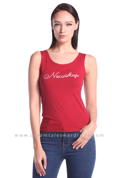 DT1017 Sleeveless Cotton Top - Maroon