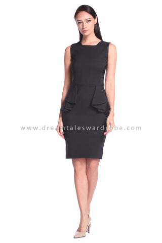 DT1020 Peplum Dress - Black