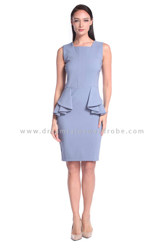 DT1020 Peplum Dress - Pale Blue