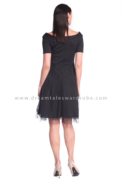 DT1021 Off Shoulder Mesh Blend Fit & Flare Dress - Black