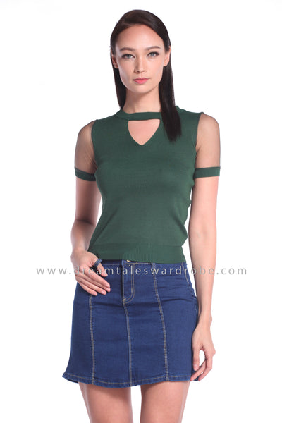 DT1025 Knitted Keyhole Top - Dark Green