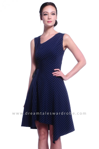DT1028 Stripes Asymmetrical Hem Dress - Blue