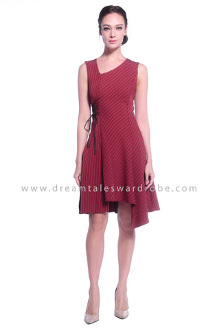 DT1028 Stripes Asymmetrical Hem Dress - Maroon