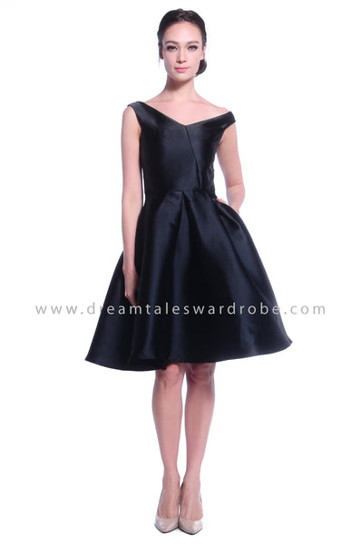 DT1030 Asymmetrical Neckline Fit & Flare Dress - Black