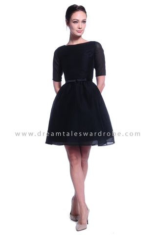 DT1033 Ribbon Belt Fit & Flare Dress - Black