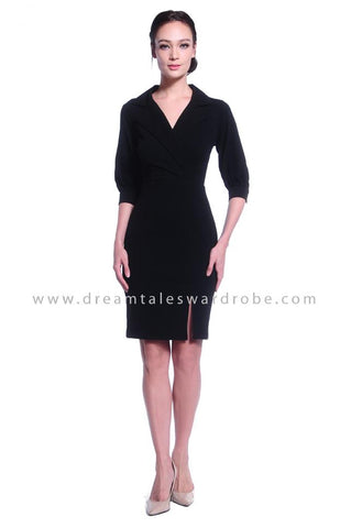 DT1034 Collar Half Sleeves Dress - Black