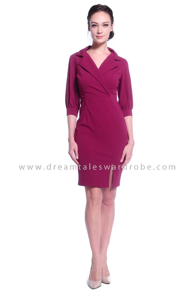 DT1034 Collar Half Sleeves Dress - Purple