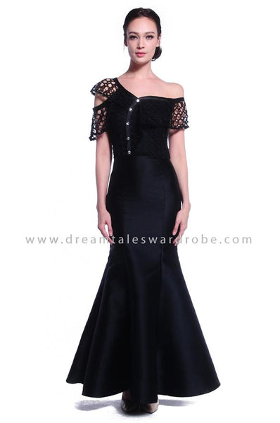 DT1035 Asymmetric One Shoulder Evening Dress - Black