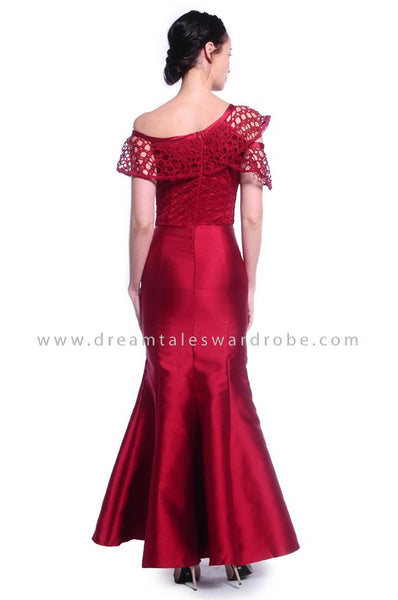 DT1035 Asymmetric One Shoulder Evening Dress - Maroon
