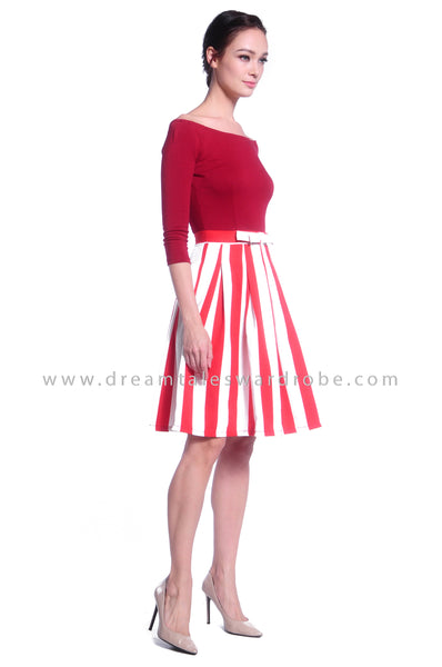 DT1036 Off Shoulder Midi Stripes Dress - Red
