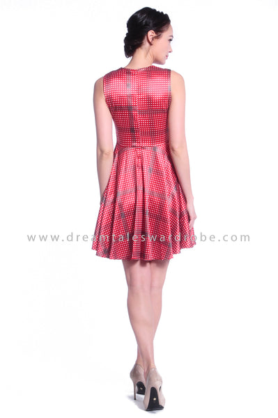 DT1037 Sleeveless Polka Dot Dress - Red