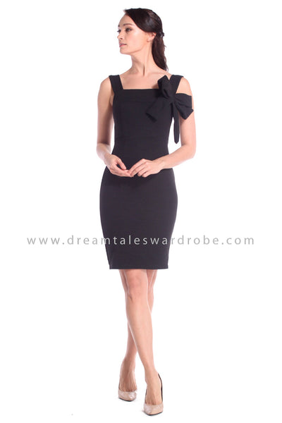 DT1041 Bow Details Dress - Black