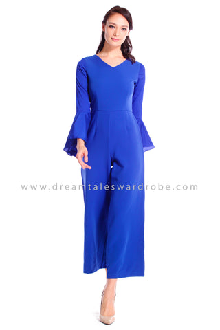 DT1044 Fluted Sleeves Culottes Jumpsuit - Blue