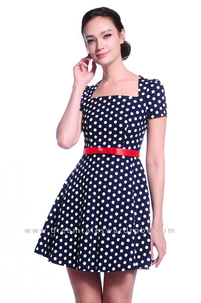DT1045 Polka Dot Fit & Flare Dress with Belt - Blue