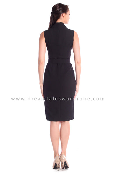 DT1048 Midi Tux Dress - Black