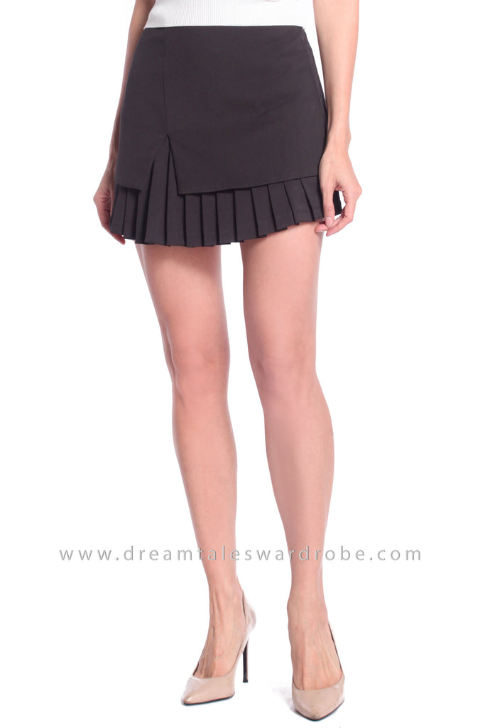 DT1051 Overlap Pleated Skirt - Black