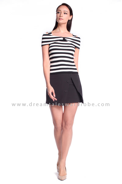 DT1053 Cold Shoulder Dual Style Top - Stripes