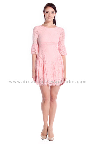 DT1054 Lace Flutter Sleeves Dress - Pink