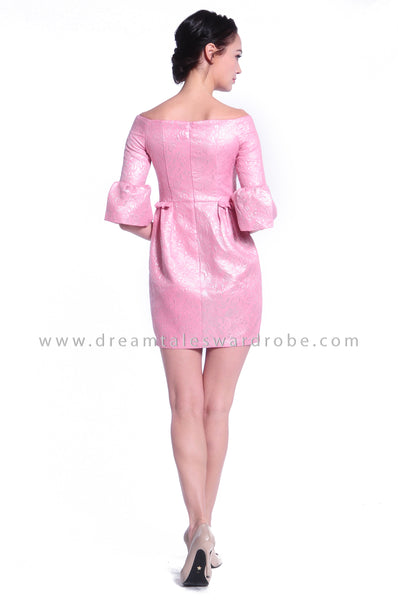 DT1055 Off Shoulder Puffy Dress - Pink