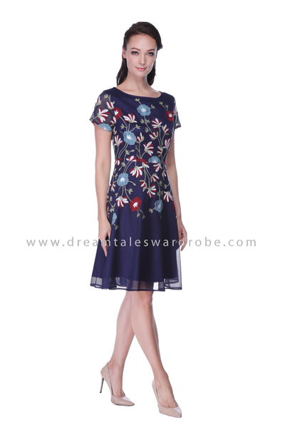 DT1056 Floral Embroidered Fit and Flare Dress - Blue