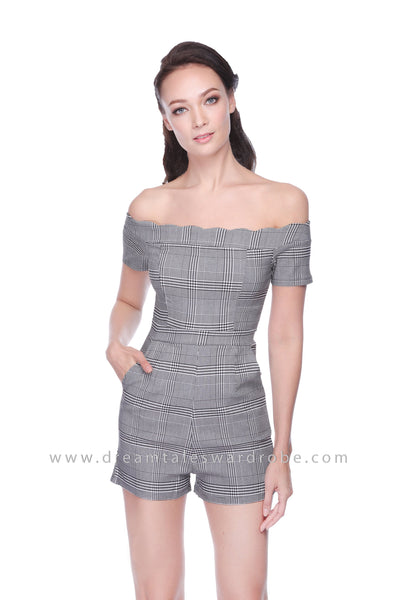 DT1058 Checkered Playsuit - Black Checkered