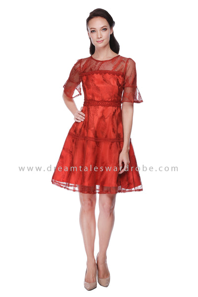 DT1065 Lace Dress with Fluted Sleeves - Tangerine