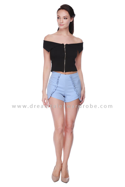 DT1066 Flap Collar Details Knitted Top - Black