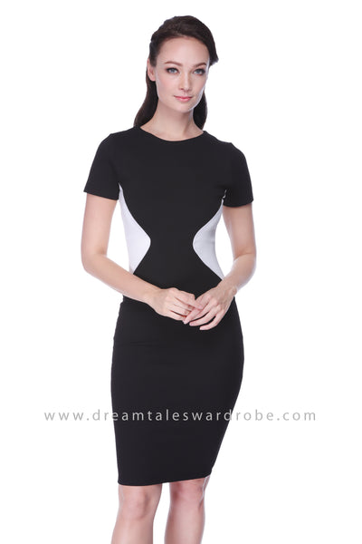 DT1067 Monochrome Colour Block Bodycon Dress - Black