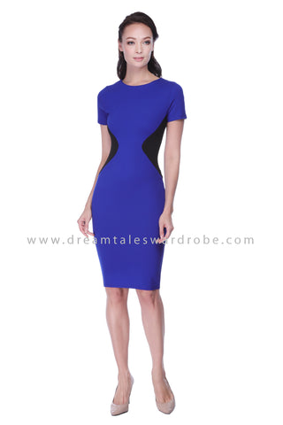 DT1067 Monochrome Color Block Bodycon Dress - Blue
