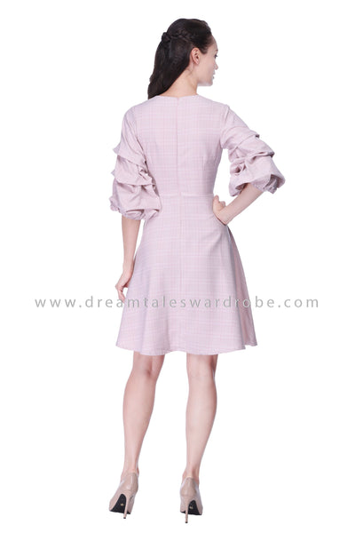 DT1069 Pink Pinstripe Puffy Sleeve Wrap Dress - Pink
