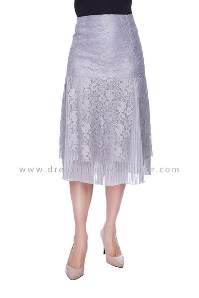 DT1070 Lace Overlay Midi Skirt - Gray